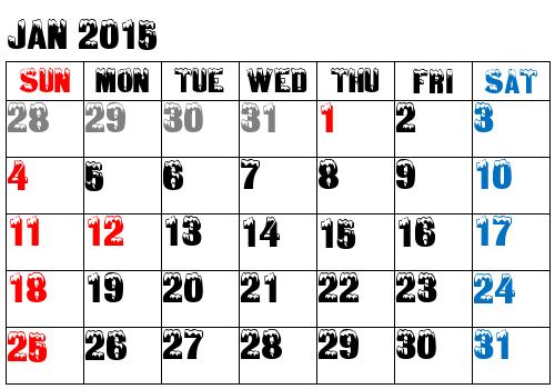 calendar snow